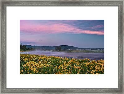 Warm River Spring Sunrise Framed Print by Leland D Howard
