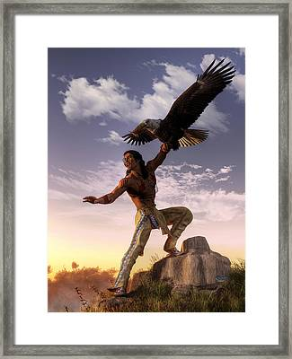 Warrior And Eagle Framed Print by Daniel Eskridge