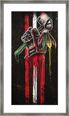Warrior Glove On Black Framed Print by Michael Figueroa