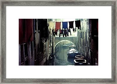 Washday Venice Italy Framed Print by Wayne King