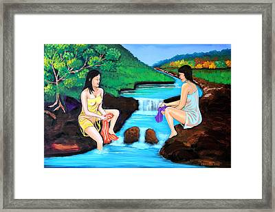 Washing In The River Framed Print by Cyril Maza