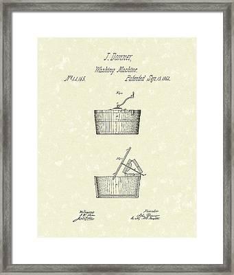 Washing Machine 1861 Patent Art Framed Print by Prior Art Design
