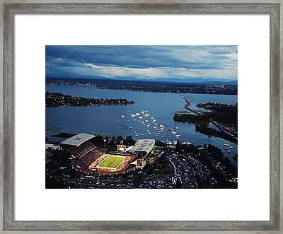 Washington Aerial View Of Husky Stadium Framed Print by Jay Drowns