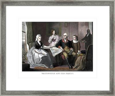 Washington And His Family Framed Print by War Is Hell Store