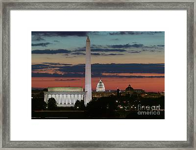 Washington Dc Landmarks At Sunrise I Framed Print by Clarence Holmes