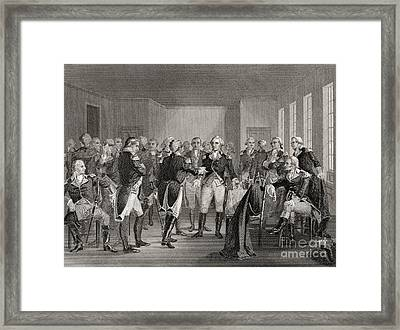 Washington Parting From His Officers At Fraunces Tavern, New York City, Usa, On December 4th 1783 Framed Print by American School