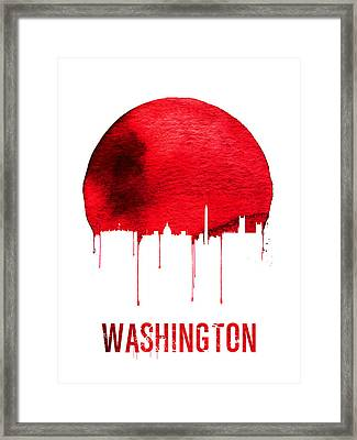 Washington Skyline Red Framed Print by Naxart Studio
