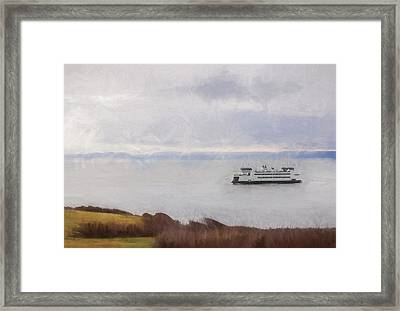 Washington State Ferry Approaching Whidbey Island Framed Print by Carol Leigh