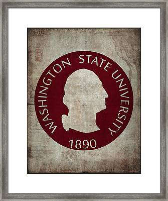 Washington State University Seal Grunge Framed Print by Daniel Hagerman