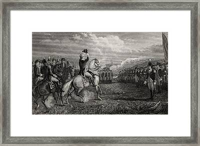 Washington Taking Command Of The Army Framed Print by Vintage Design Pics