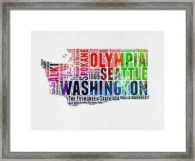 Washington Watercolor Word Cloud Map Framed Print by Naxart Studio
