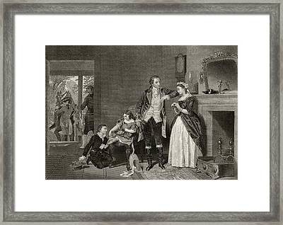 Washingtons First Interview With Mrs Framed Print by Vintage Design Pics