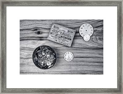 Watch Parts On Wood Still Life Framed Print by Tom Mc Nemar