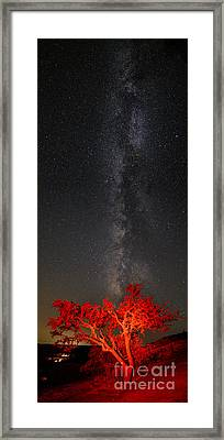 Watching In Awe As The Milky Way Rises Panorama - Enchanted Rock Fredericksburg Texas Hill Country Framed Print by Silvio Ligutti