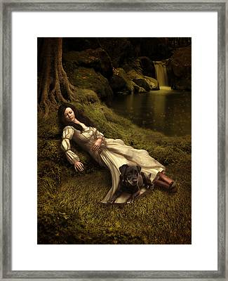 Watching Over Her Sleep Framed Print by Britta Glodde