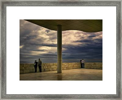 Watching The Storm At The Getty Framed Print by Lynn Andrews