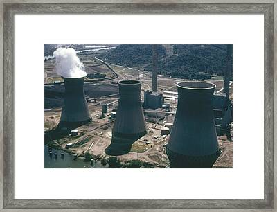 Water Cooling Towers Of The John Amos Framed Print by Everett