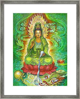 Water Dragon Kuan Yin Framed Print by Sue Halstenberg