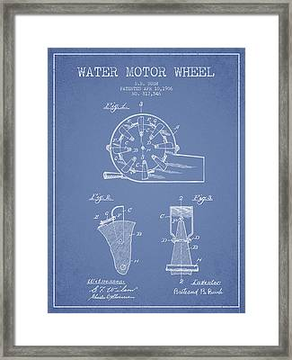 Water Motor Wheel Patent From 1906 - Light Blue Framed Print by Aged Pixel