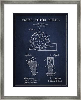 Water Motor Wheel Patent From 1906 - Navy Blue Framed Print by Aged Pixel