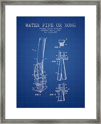 Water Pipe Or Bong Patent 1975 - Blueprint Framed Print by Aged Pixel