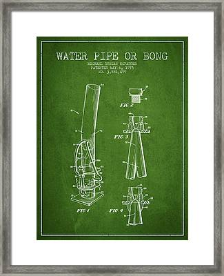 Water Pipe Or Bong Patent 1975 - Green Framed Print by Aged Pixel