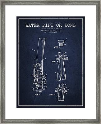 Water Pipe Or Bong Patent 1975 - Navy Blue Framed Print by Aged Pixel