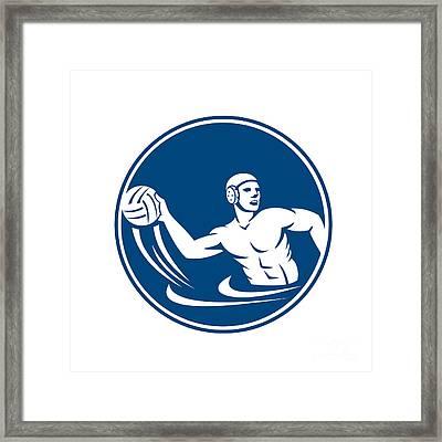 Water Polo Player Throw Ball Circle Icon Framed Print by Aloysius Patrimonio