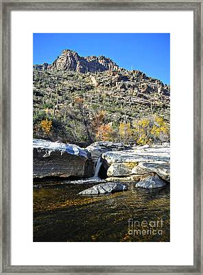 Water Spout Below Ridge In Sabino Canyon Framed Print by Rincon Road Photography By Ben Petersen