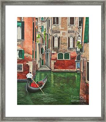 Water Taxi On Venice Side Canal Framed Print by Charlotte Blanchard