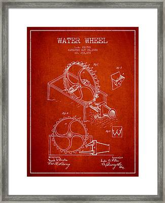 Water Wheel Patent From 1880 - Red Framed Print by Aged Pixel