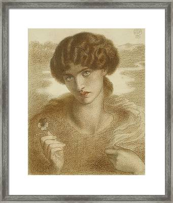 Water Willow - Study Of Female Head And Shoulders Framed Print by Dante Gabriel Rossetti