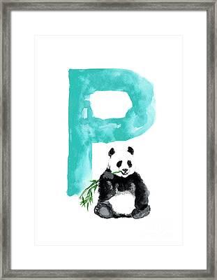 Watercolor Alphabet Giant Panda Poster Framed Print by Joanna Szmerdt