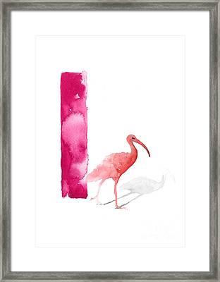 Watercolor Alphabet Pink Ibis Poster Framed Print by Joanna Szmerdt