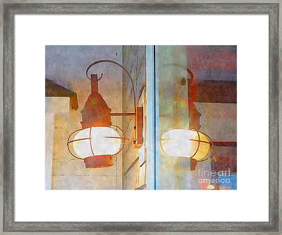 Watercolor And Ink Lantern Reflection Framed Print by Shelly Weingart