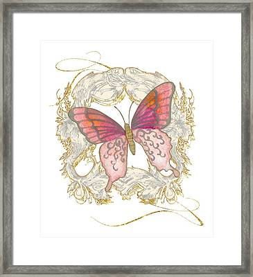 Watercolor Butterfly With Vintage Swirl Scroll Flourishes Framed Print by Audrey Jeanne Roberts