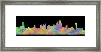 Watercolor Dallas Skyline Art  Framed Print by Tod and Cynthia Grubbs