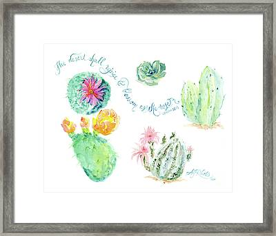 Desert In Bloom 1, Watercolor Desert Cacti N Succulents Inspirational Verse Framed Print by Audrey Jeanne Roberts