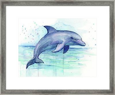 Watercolor Dolphin Painting - Facing Right Framed Print by Olga Shvartsur
