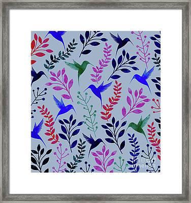 Watercolor Floral Birds Framed Print by Amir Faysal