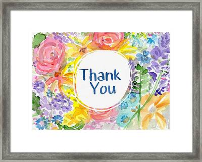 Watercolor Garden Thank You- Art By Linda Woods Framed Print by Linda Woods