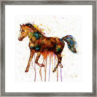 Watercolor Horse Framed Print by Marian Voicu