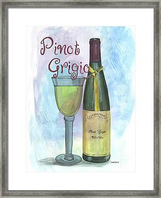 Watercolor Pinot Grigio Framed Print by Debbie DeWitt