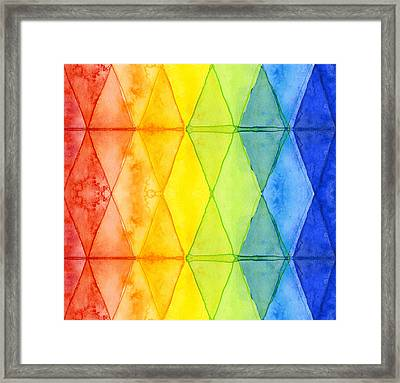 Watercolor Rainbow Pattern Geometric Shapes Triangles Framed Print by Olga Shvartsur