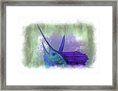 Watercolor Sailfish Framed Print by Ken Figurski