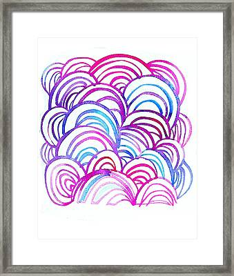 Watercolor Scallops In Pink And Blue Framed Print by Gillham Studios