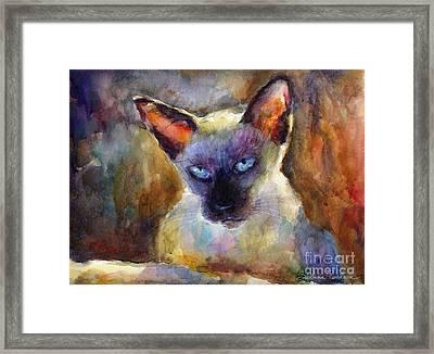 Watercolor Siamese Cat Painting Framed Print by Svetlana Novikova