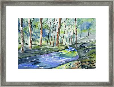 Watercolor - Summer Forest And Stream Framed Print by Cascade Colors