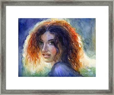 Watercolor Sunlit Woman Portrait 2 Framed Print by Svetlana Novikova