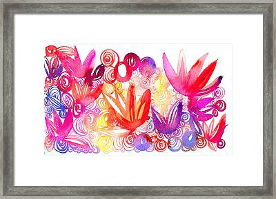 Watercolor Swirls And Leaves In Reds Framed Print by Gillham Studios